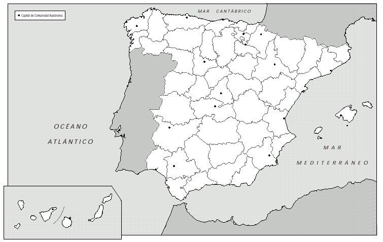 Mapa Mudo Provincias España.Geografia E Historia