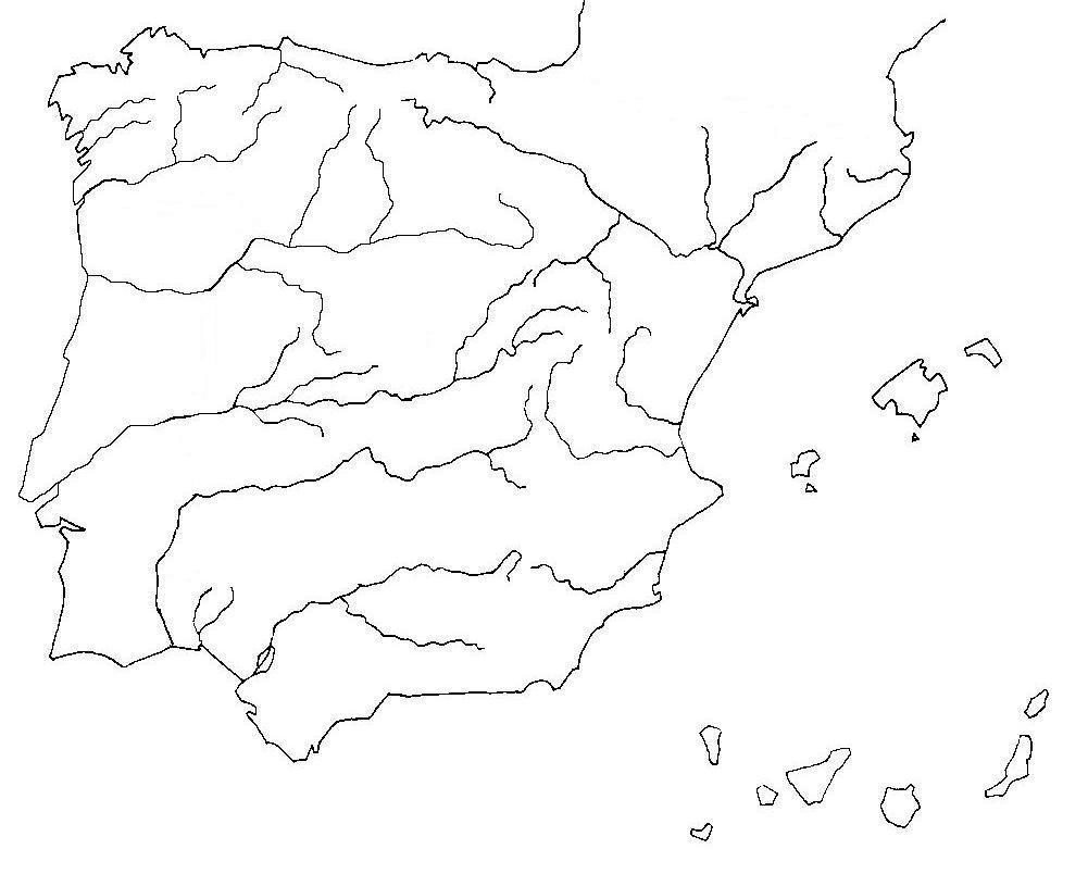 Mapa De España Mudo Rios Para Imprimir.Geografia E Historia